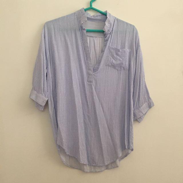 韓版條紋七分袖襯衫