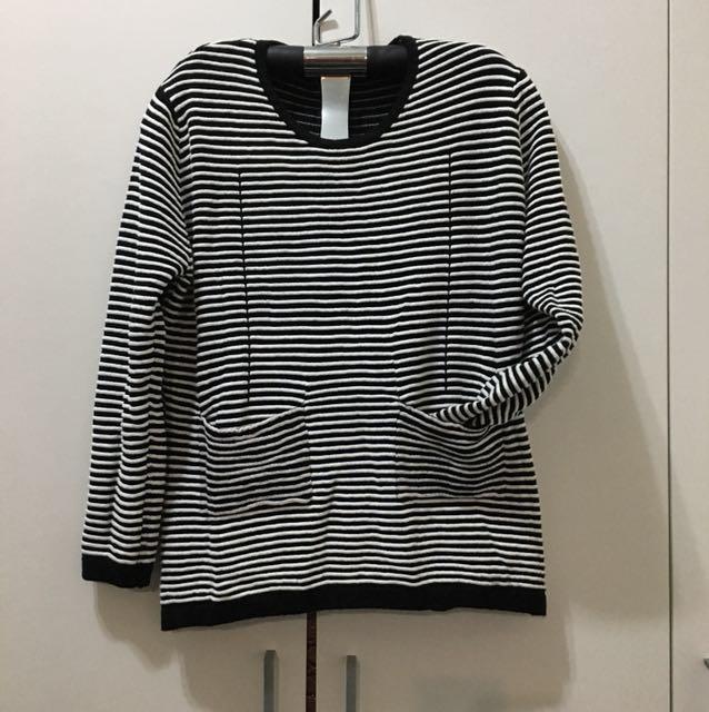 轉櫃服飾針織黑白線條上衣