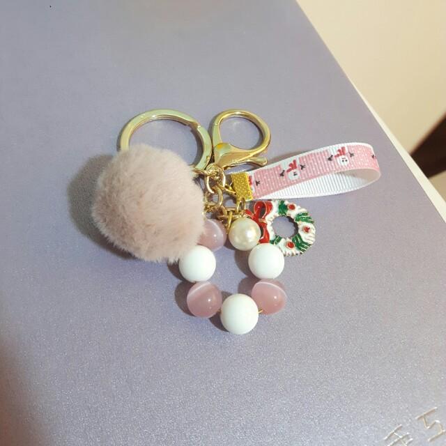 粉貓眼,毛球,聖誕節鑰匙圈