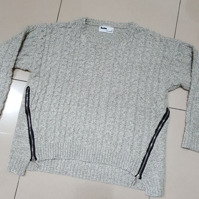 韓國麻花拉鍊毛衣 灰色