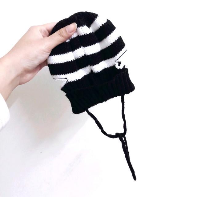 黑白條紋 寵物狗狗 毛帽/針織帽