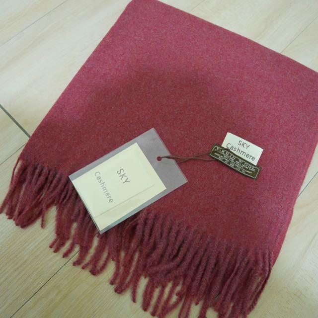 現貨/紅 仿羊絨厚實圍巾