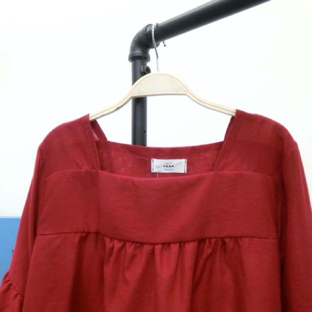 秋裝 紅色上衣