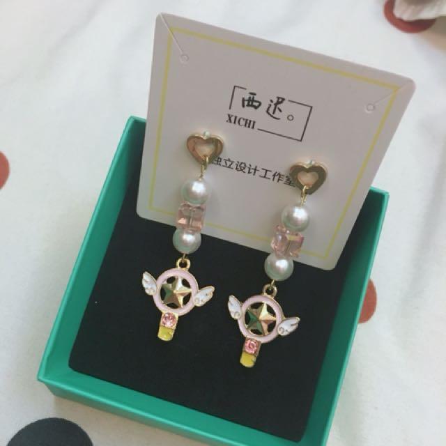 實品拍攝 現貨 庫洛魔法使 創意手作魔法棒耳飾 耳環 螺旋耳夾 飾品