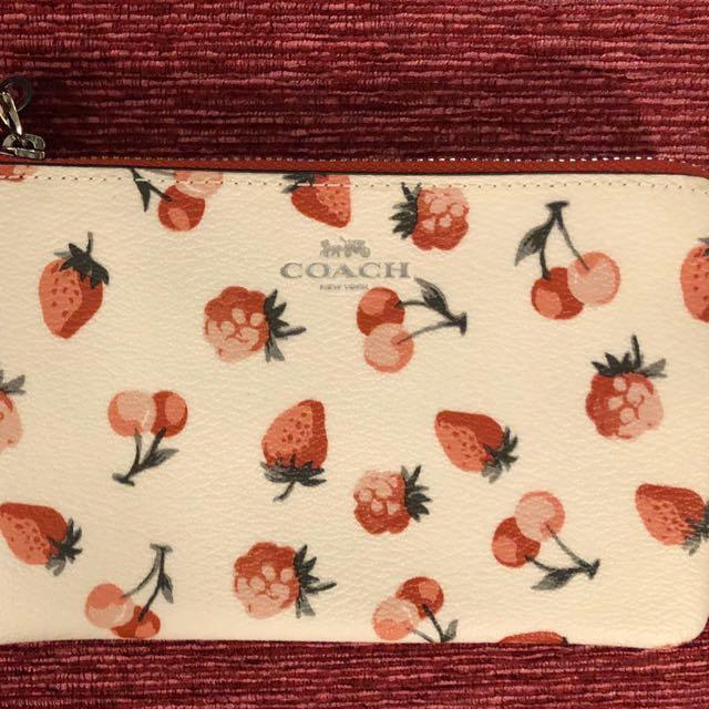 情人節首選) COACH防水直條皮革L型拉鍊手拿包-水果