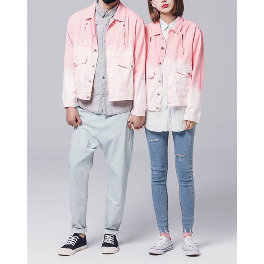 粉色漸變色牛仔外套 Pink gradient denim jacket