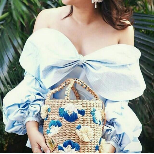 Aranaz Ella Blue basket bag