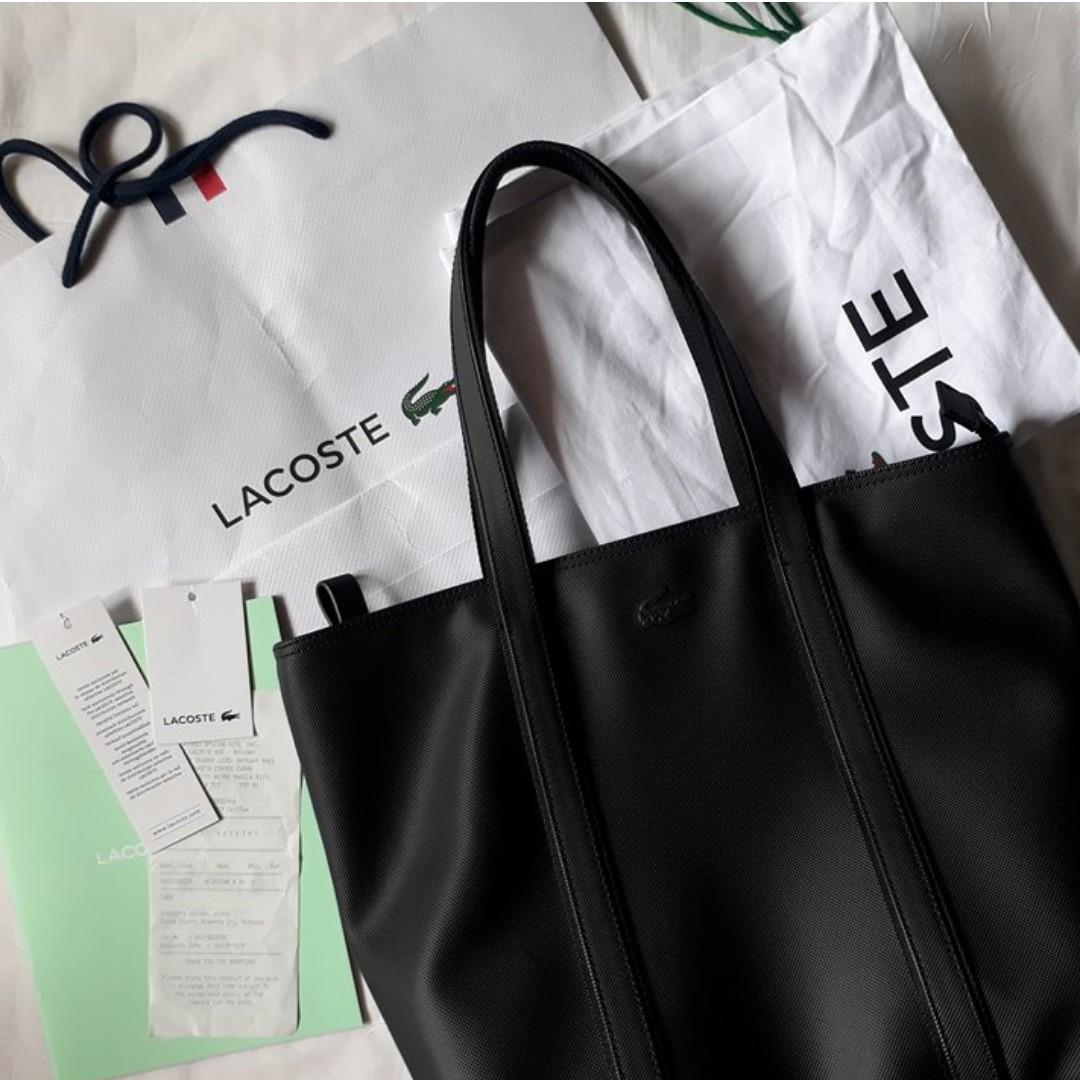 Authentic Lacoste Classic Monochrome Zip Tote Bag in Black