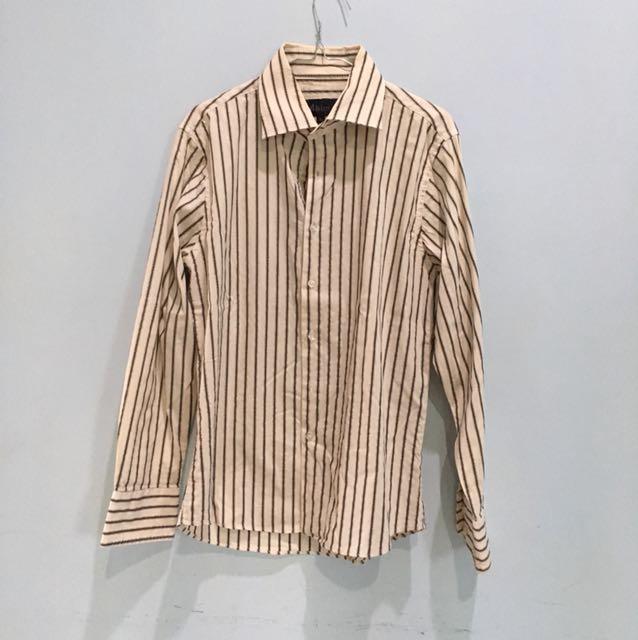 Baju kemeja cream garis-garis