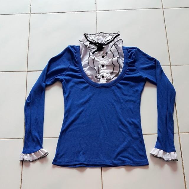 Blouse blue ribbon fit L