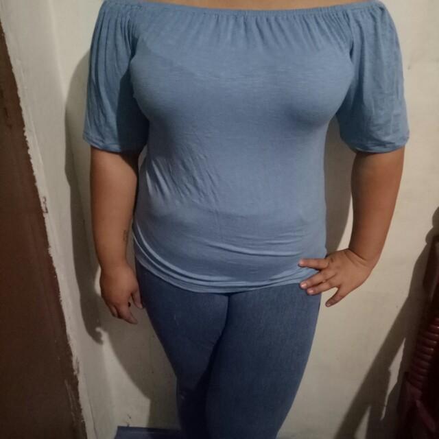 Blue Cotton Off Shoulder