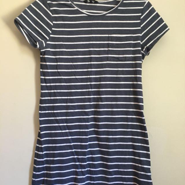 Blue striped tshirt dress