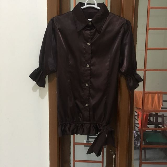 Brown Satin Top