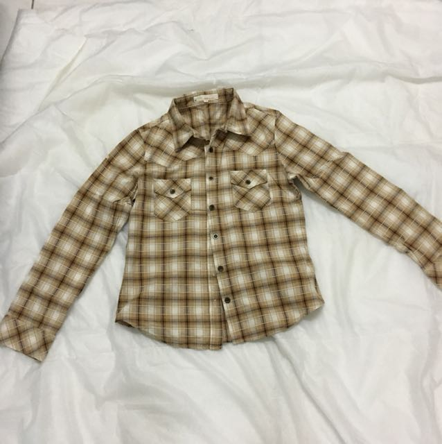 Brown white flannel shirts