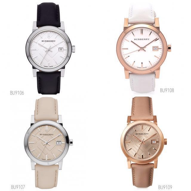 burberry ladies the city leather watch