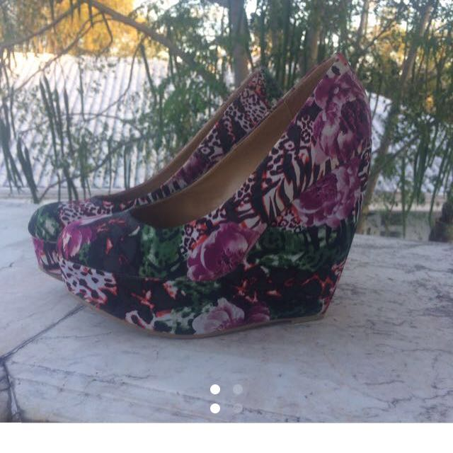 Call It Spring Wedge Floral High Heels