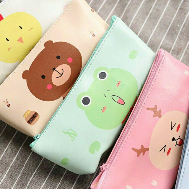 Cartoon PU Leather Pencil Pouch&Coinpurse&Cosmetic Pouch