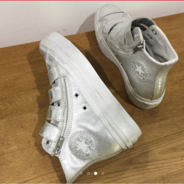 Converse All star limited edition Metallic silver croc embossed