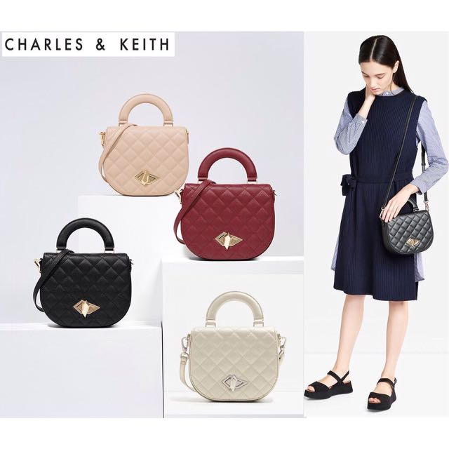 DEALS! Authentic Charles & Keith Turn Lock Crossbody Bag