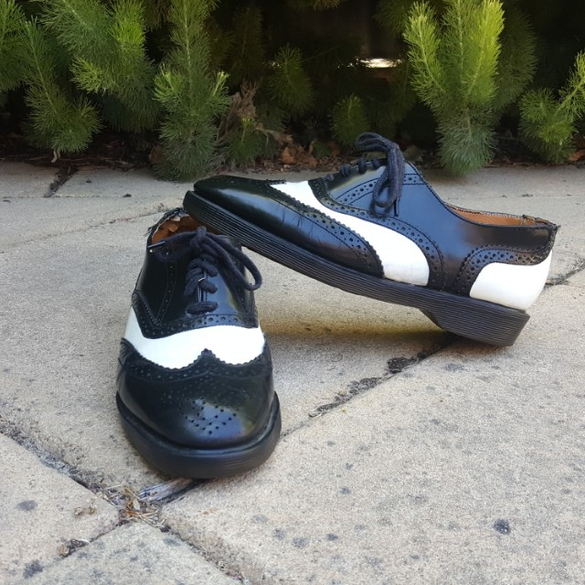 Doc Martens Made In England Black & White Leather Shoes Vintage