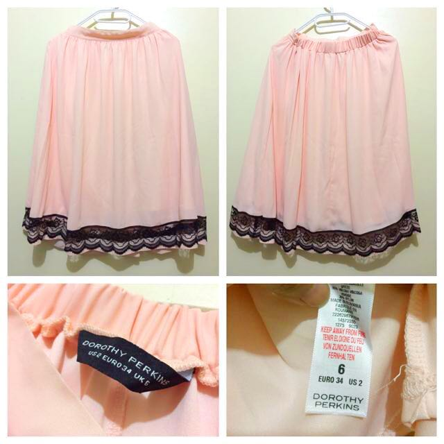 Dorothy Perkins Blush Lace Trimmed Skirt