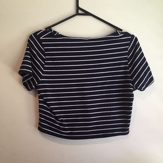 Factorie Navy and White Crop Top Size Small
