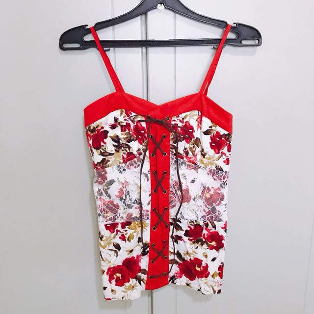 Flowery Red & White Top