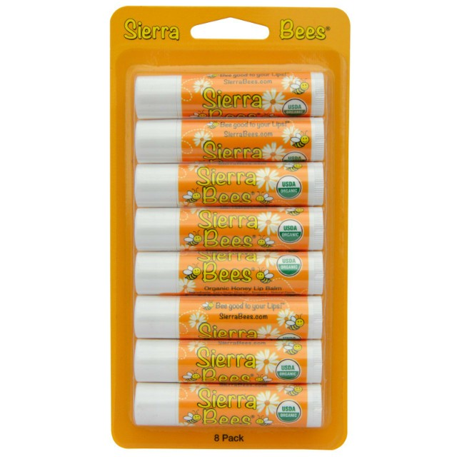 Freepos Sierra Bees Organic Lip Balm Honey 8 Pack