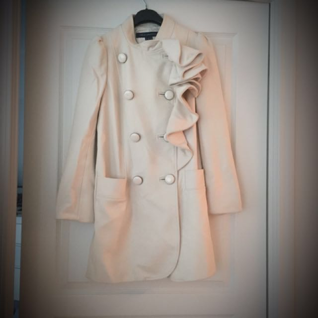 French Connection Ruffle Cream Colour Coat