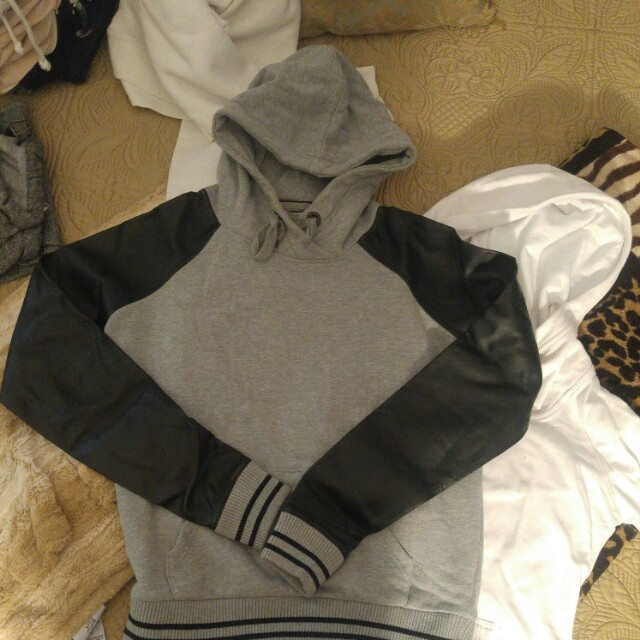 Garage  Grey and leather Hoodie