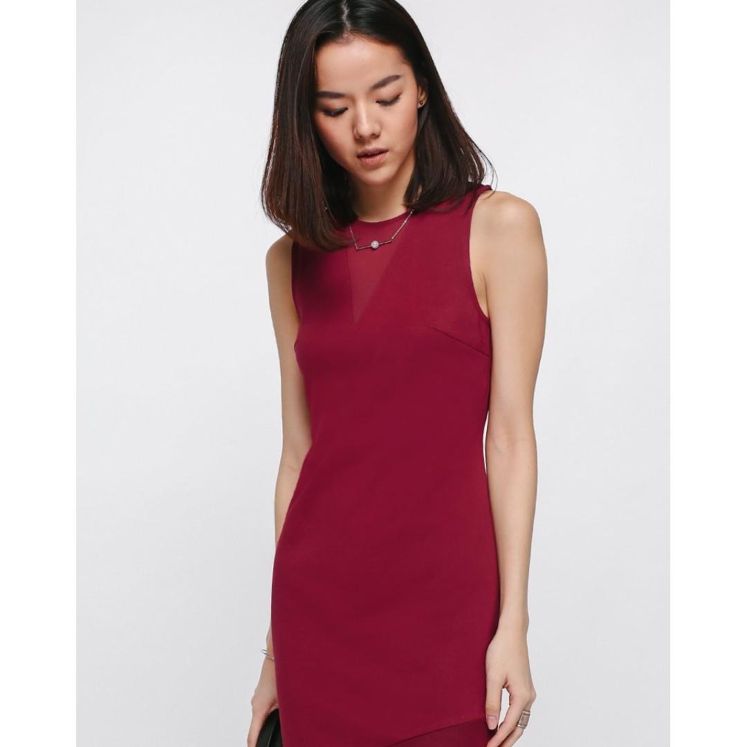 50334118e6c Golnaz Mesh Cutout Dress - Red (S) Love Bonito (LB)