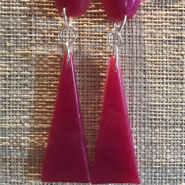 Handmade pinky red resin drop earrings