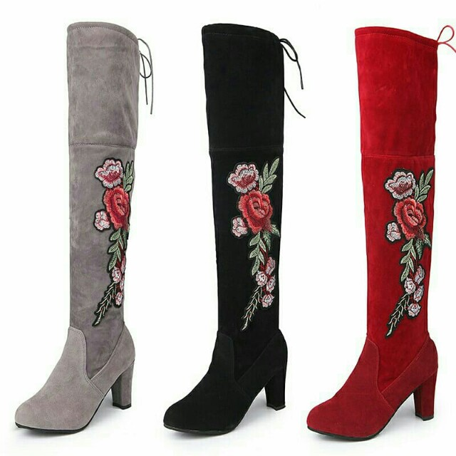 high heels rose patterned women boot