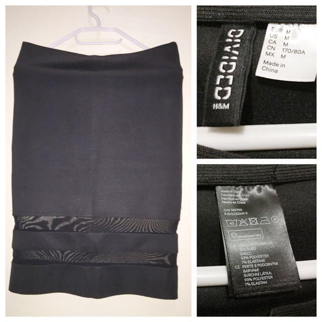 H&M Dividend Black Stretch Skirt