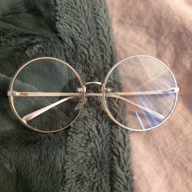 Large Gold Frame Glasses