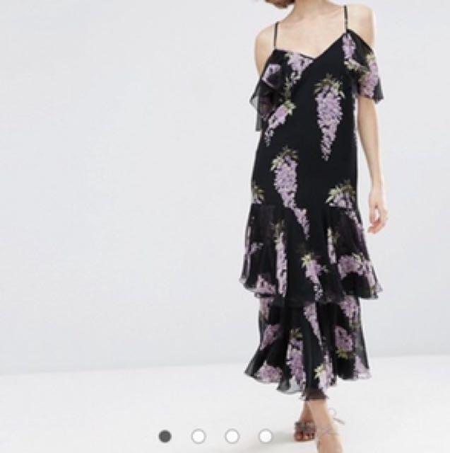 Like New ASOS Premium Wisteria Maxi Dress Purple Violet Lavender Lilac