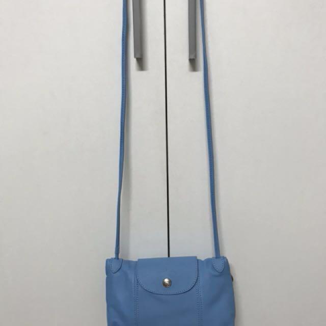 LONGCHAMP. 羊皮 小斜背包 水藍色