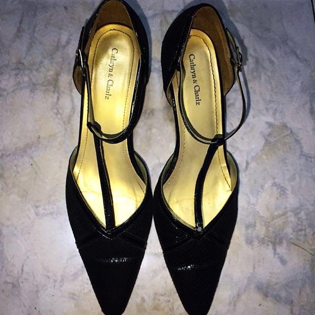 Low-heeled Black Fine Sequined Sandals