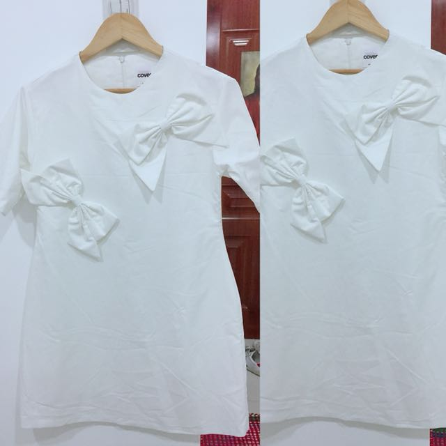 LWD little white dress with big bows/ribbons