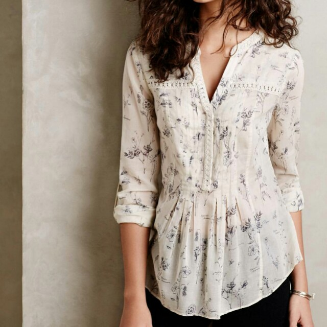 Maeve White Lily Patterned Blouse