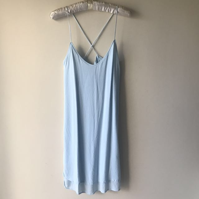Mango Baby Blue Crepe Cross Back X Slip Dress Size XS MNG Suit