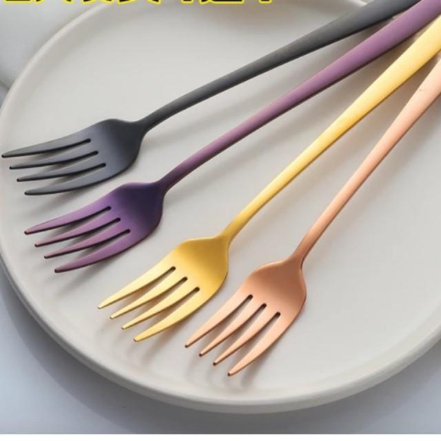 Metallic colour fork & spoon