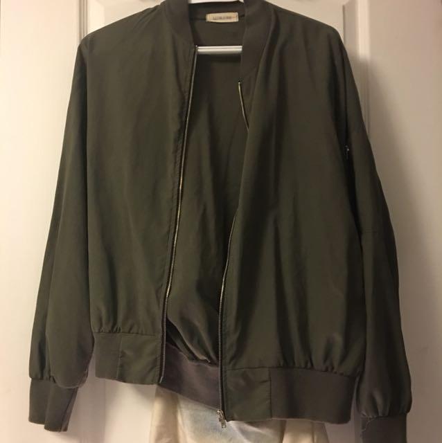 Military Green Unpadded bomber jacket