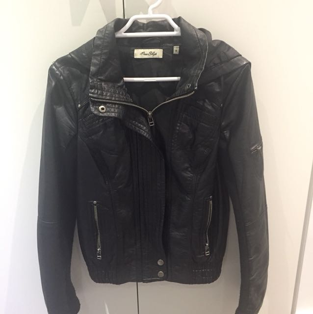Miss Shop Faux Leather Jacket with hood