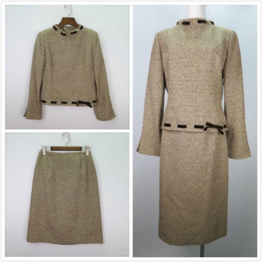 M'S GRACY40號,咖啡色+米色織紋.緞帶滾邊,長袖外套+裙子