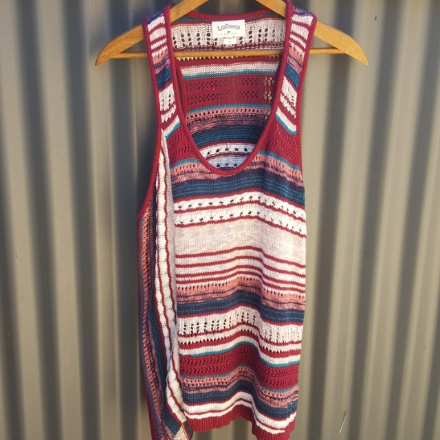 NEW Lee Cooper Singlet Woven Knit Cotton Burgundy Top Beachy Aztec RRP $89