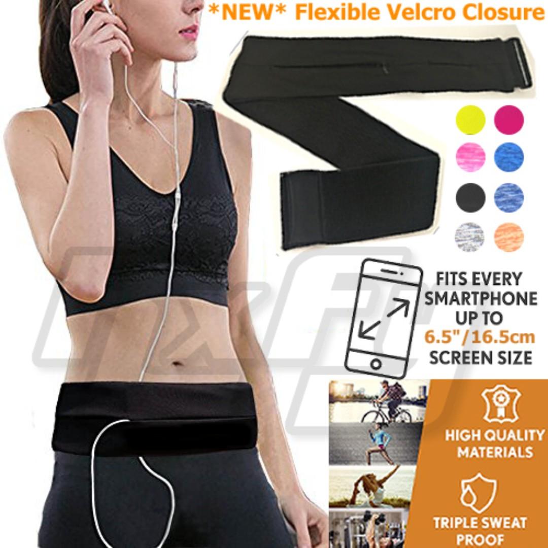 *NEW* Velcro Exercise Running Belt Waist Pouch Pack Bag Flipbelt Women Men Racer Marathon Runner Workout Belt Fanny Bag Phone iPhone Samsung Walking Fitness Jogging Crossfit