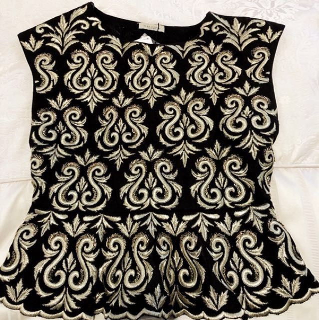 NWT Zara Embellished Embroidered Top, Black/Gold, Sz M