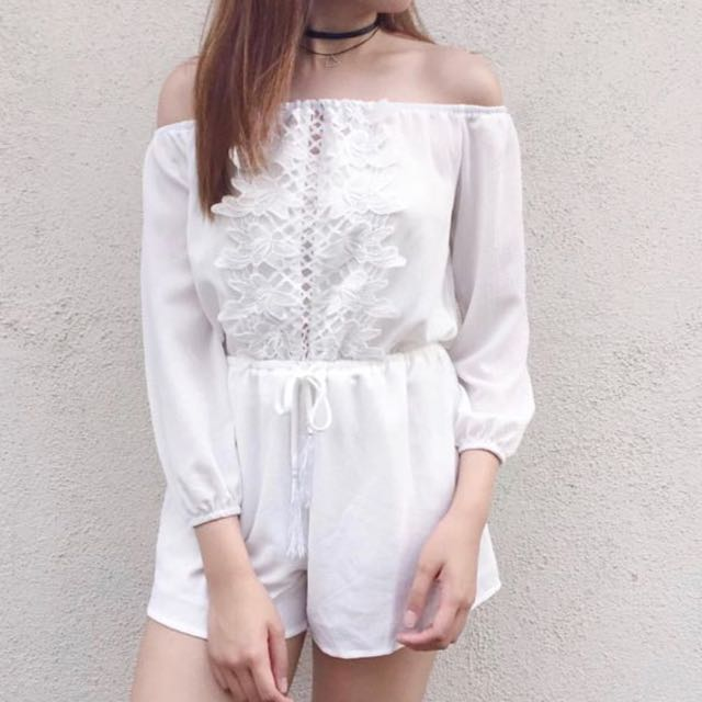 Off-shoulder white lace romper