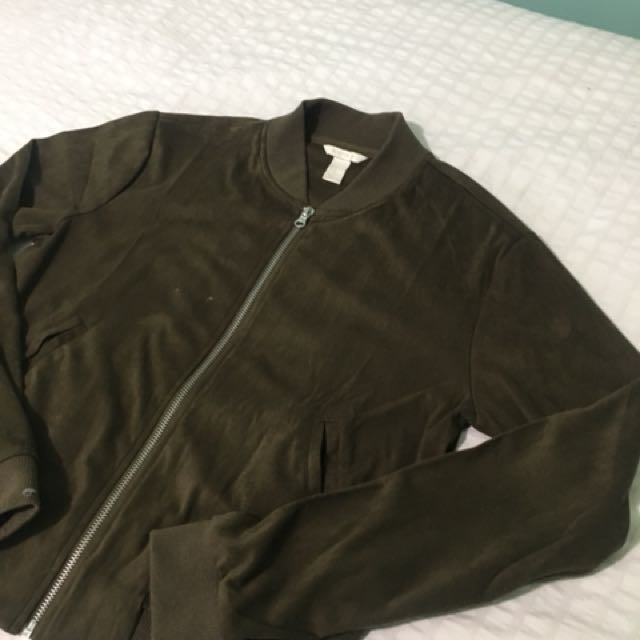 Olive Green Suede Bomber